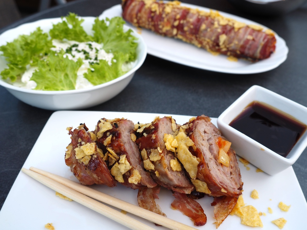 Grilled Bacon BBQ Makis mit Rahm-Rettich